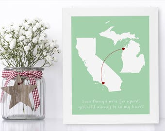 Long Distance Relationship Map Unique Long Distance Gift 2 Map Art Two Map Print Personalized State Country Distance Present Birthday Gifts