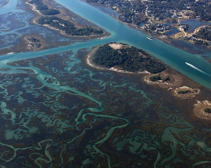 Featured listing image: Beach Wall Art: Wrightsville Beach Aerial Beach Photography | Intracoastal Waterway | Wilmington NC