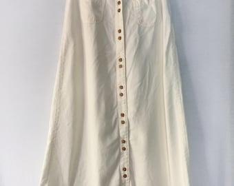vintage cream button skirt