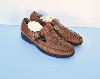 woven brown leather mary jane shoes 9