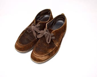 brown suede mens oxford shoes / size 12.5