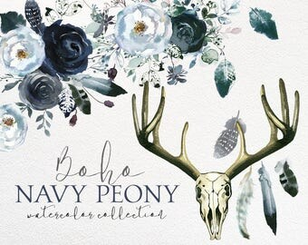 Boho Chic Navy Blue White Peonies Roses Watercolor Floral Clipart  Bouquets Elements Feathers Watercolour Flowers PNG Fall Winter Wedding