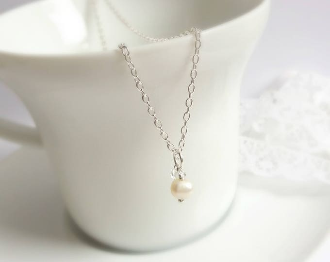 Sterling Silver necklace, pearl necklace, bridal necklace, wedding accessories, bridal jewelry, silver jewelry, gift for her, Christmas gift