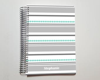 "Coil Bound Notebook, Bullet Journal, Custom Name Journal, Dot Grid, Graph, or Lined Notebook ~ A5 / 5.5"" x 8.5"" / Half Letter (11)"