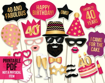 40th birthday photo booth props: printable PDF. Hot pink and gold. Fortieth Bday props. Birthday party ideas for women. Digital download