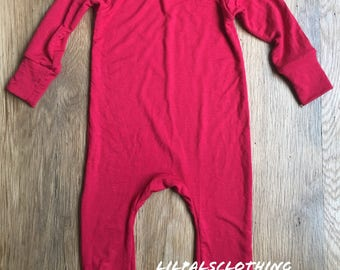 Red baby boys outfit, baby clothes, baby boy clothes, one-piece outfit, red one-piece baby outfit. Homemade boys outfit. Baby