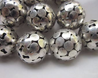 12 Silver-plated Metal Beads, Pierced Connected Dot Design with Star Pattern Ends, 14mm Round
