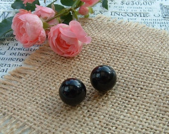 Set of 3 diameter 12mm round shaped black ONYX beads