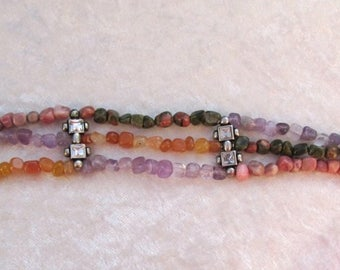 Three rows of semi-precious stones bracelet