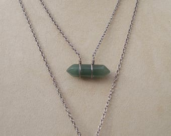Wire Wrapped Aventurine Crystal Necklace