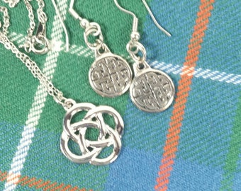 Celtic Necklace and Earring Set Silvertone