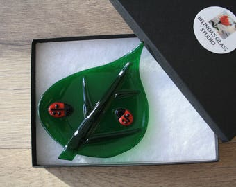 Soap Dish / Spoon Rest - Leaf with Lady Bugs