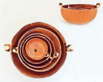Primitive Pottery Nesting Bowls, Collectible Vintage Ceramic, Set of Five