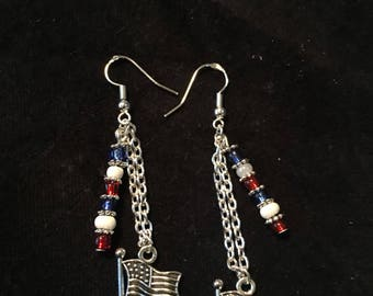 American flag earrings with red, white and blue glass beads