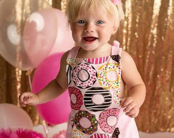 Donut Sprinkle Ruffle Pink Bubble Romper - Cake Smash Toddler Popular Canada First Birthday Outfit