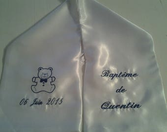 scarf pattern blue embroidered satin Teddy bear christening