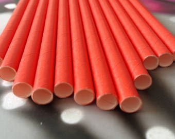 Set of 12 red paper straws