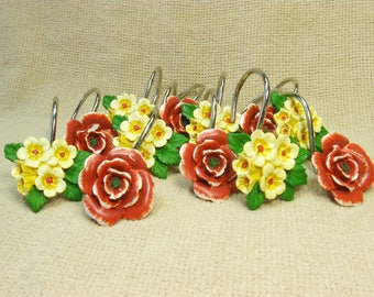 Vintage Shower Curtain Rings, Set of 12 Curtain Hooks Crimson Red and Yellow