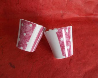 Duo of coffee cups or espresso saucer bamboo stripes and polka dot raspberry