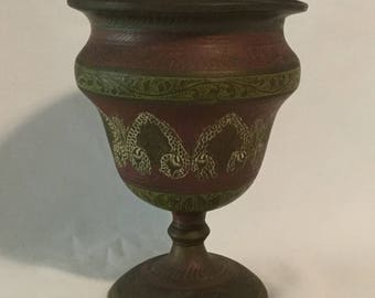 Antique Middle Eastern Ornate Cloissone Brass Chalice