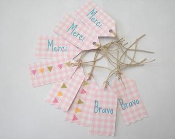 Eight labels way pink gingham