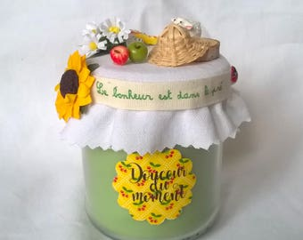 """Green candle """"happiness is in the Meadow"""", country decor"""