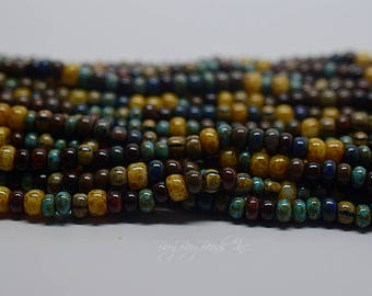 2/0 - 3/0, Caribbean Blue Aged Picasso Striped Mix, Round, Aged Czech Glass Seed Beads, 20inch Strand (Approx 95-99 Beads)