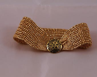 Gold color seed beads, cuff bracelet, herringbone and peyote stitches, metal button and loop closure, 1 inch wide, 7 inches long