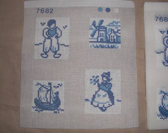 Canvas 4 frames pattern blue marine theme of 5.2 to 7.5 cm