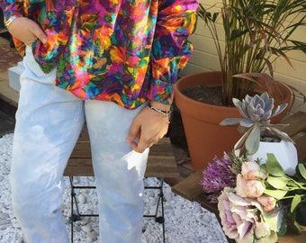 Watercolor Floral Drape Print Button Up Shirt