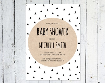 Baby Shower Invitation, Geometric Baby Shower Invitation, Gender Neutral, Kraft Paper, Triangle, Simple, Modern, Printable, Printed