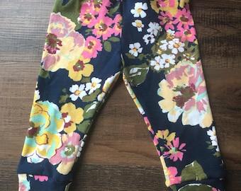 Navy floral baby leggings, navy leggings, floral leggings, toddler leggings, baby joggers, kids leggings