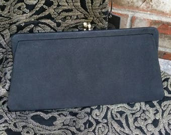 Vintage Clutch with Crystal Kiss Lock Closure * Black Grosgrain Fabric