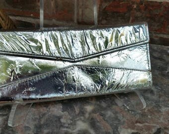 Vintage Silver Lame Wallet Purse with Back Strap * 1950's