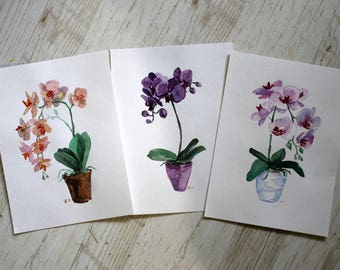 Flower fine art Orchid watercolor art Original watercolor illustration Floral painting flower Wall art painting Orchid flower Gift for her