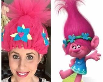 Princess Poppy Costume, Poppy Headband, Troll Hair, Pink Troll Hair, Full Headband, Full Princess Poppy Crown