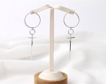 Dainty Circle & Bar Stud Earring,Linked Hoop Earrings.