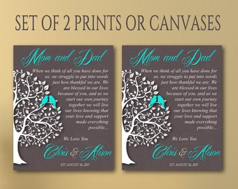 Parent wedding gift set of 2, Parent thank you Gift canvas Wedding Gift for Parents, Parents Anniversary Gift,Gift from newlyweds to parents