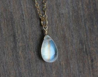 Rainbow Moonstone Pendant, Gold Filled Necklace, Dainty Gemstone Jewelry, June Birthstone