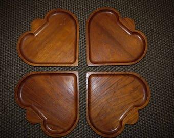 Heart Shaped Trays - Teak - Mid Century - Charming - Wood - Plates