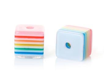 50 Multi Colored Striped Acrylic Cube Beads 8mm (B258b)