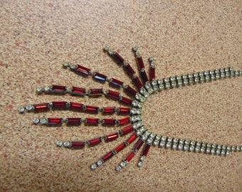 Vintage 1950s Red Rhinestone Necklace Pin Up Retro Vintage