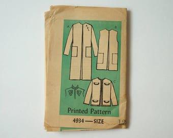Vintage Printed Pattern Misses' Coat Sewing Pattern 4934 Size 12