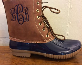 SALE NAVY Duck boots, Monogram  adult Duck Boots, Rain Boot, Boat-Shoe Style, Shoes,Two Tone,Half Size Small