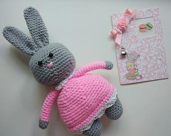 Crocheted bunny toy Amigurumi hare Crochet stuffed animal Tot for kids Pink bunny Grey bunny Crochet bunny in dress Crochet hare