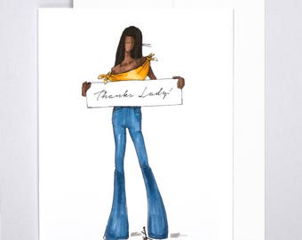 Thank You Card - Handmade - 100% Recycled - Greeting Card - Fashion Illustration - Made in NYC - Greeting Card