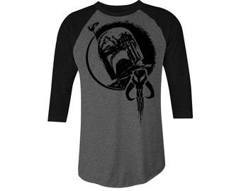 Boba Fett Blacked Out  3/4 Sleeve T-shirt, Star Wars T-shirt, Bounty Hunter T-shirt, Boba Fett Tee, Star Wars Tee, Mandalorian, StarWars