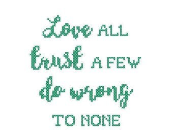Love All Shakespearean quote 7 inch cross stitch kit