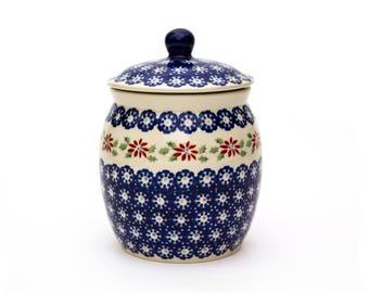 Polish Pottery Covered Jar, Signed by Artist, Manufaktura Boleslawiec Polish Pottery