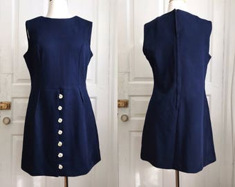 1960s / 60s Vintage Mod Navy Shift Minidress / Large / Extra Large